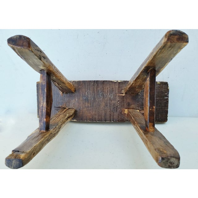 Vintage Chinese Elm Stool Milking Bench For Sale - Image 5 of 5