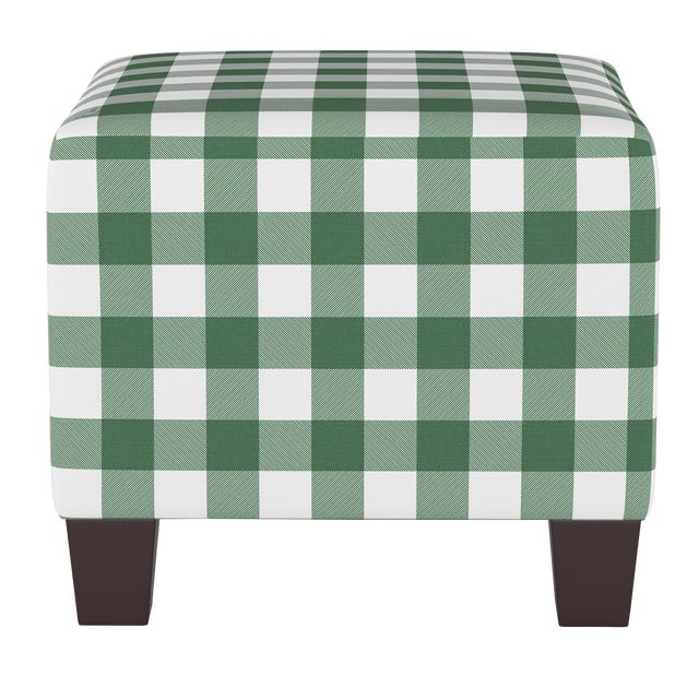 Square Ottoman in Classic Gingham Evergreen Oga For Sale