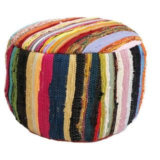 Multicolor Sari Rug Ottoman Stool For Sale