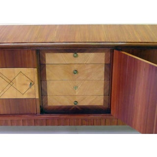 An Exceptionally Long and Superb Quality Italian Mid-Century 5-Door Walnut and Sycamore Incurved Sideboard in the Manner of Paolo Buffa Preview