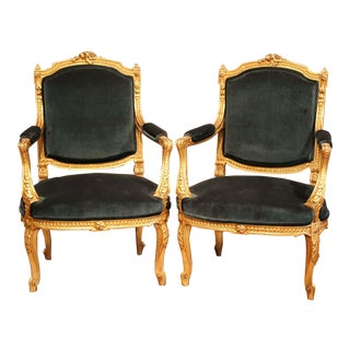 Pair of 19th Century French Louis XV Carved Giltwood Armchairs With Green Velvet For Sale