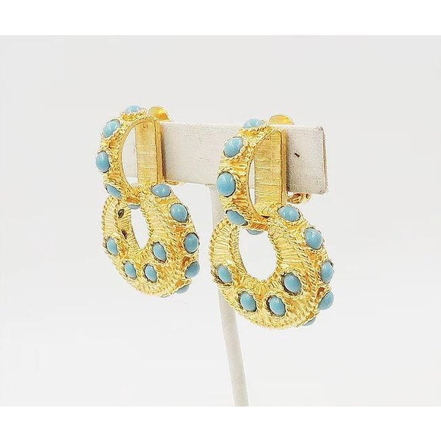 Mid-Century Modern Mimi DI N Cabochon Faux-Turquoise Hoop Earrings For Sale - Image 3 of 8