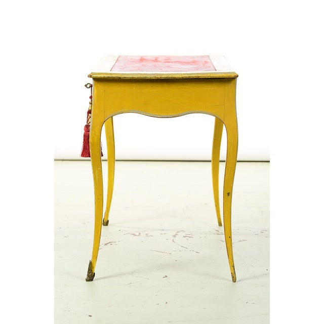 Yellow 19th Century Venetian Beautiful Painted Petite Ladies Desk -Leather Top For Sale - Image 8 of 10
