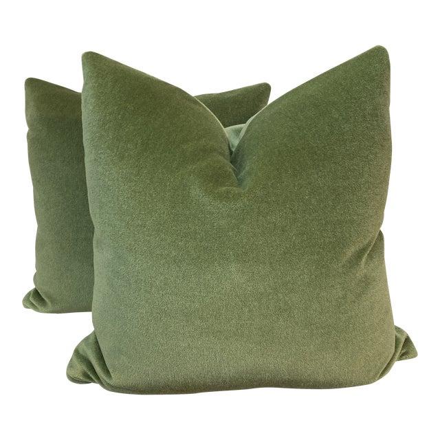 "Brunschwig & Fils ""Autun Mohair Velvet"" in Leaf 22"" Pillows- a Pair For Sale"