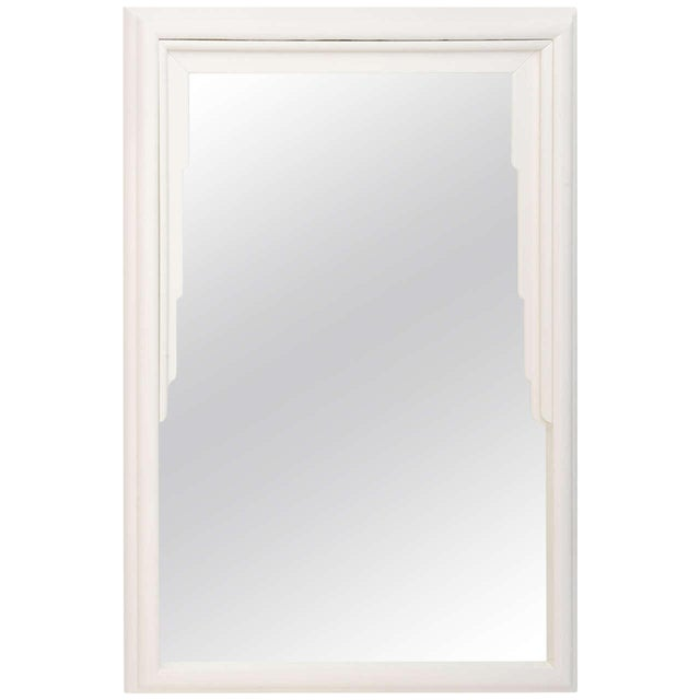Dorothy Draper Hollywood Regency Art Deco Style Mirror in White Lacquer For Sale