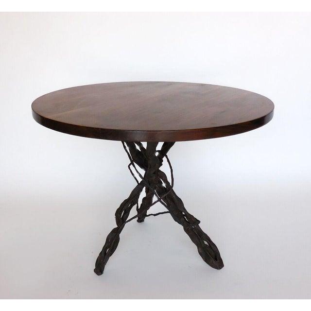 Modern Custom Walnut Wood Side Table With Custom Hand Forged Vine Base For Sale - Image 3 of 8