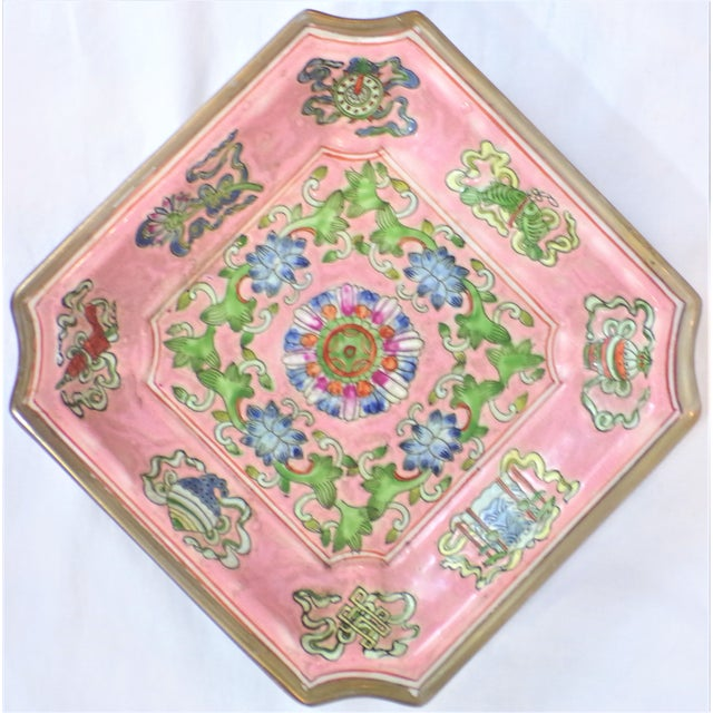 Chinoiserie Chinese Export Porcelain Decorative Blush and Caledon Catchall Dish For Sale - Image 3 of 9