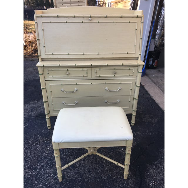 1970s 1970's Hollywood Regency Thomasville Faux Bamboo Secretary Desk and Bench - 2 Pieces For Sale - Image 5 of 13