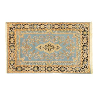 Vintage Persian Blue Kerman Rug With Romantic English Country Charm - 04'11 X 08'00 For Sale