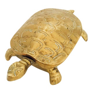 Vintage Brass Turtle Trinket Box