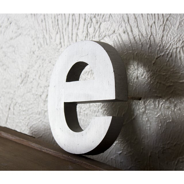 Industrial Industrial Silver Salvaged Letter E For Sale - Image 3 of 6