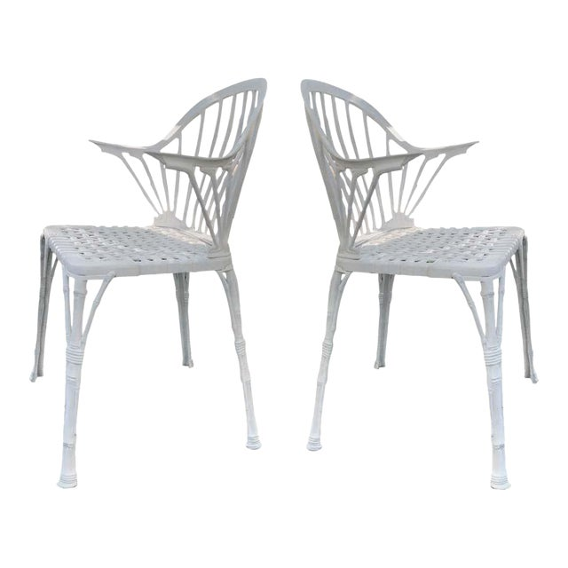 20th Renaissance Revival Style Cast Iron White Garden Chairs in Faux Bamboo - a Pair For Sale