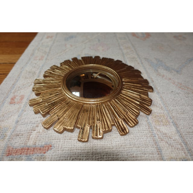 Vintage Mid Century Mid-Century Modern Sunburst Convex Gold Wall Mirror For Sale - Image 4 of 8