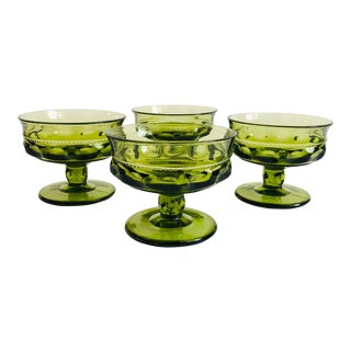Vintage Green Coupe Cocktail Glasses - Set of 4 For Sale