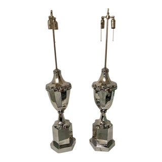 Large Urn Coach Nickel Plated Two Socket Lamps - a Pair For Sale