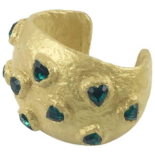 Oversized Gilt Resin Cuff Bangle by Nieta Stambowsky Green Heart Rhinestones For Sale