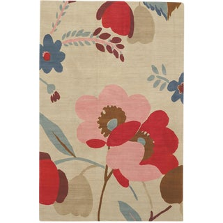 "Contemporary ""Candy Flowers"" Marni Tibetan Wool Rug - 5′ × 7′"
