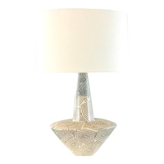 Arteriros Modern Black and White Geometric Ceramic Toronto Table Lamp For Sale