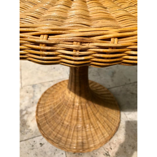 Vintage Wicker Rattan Dining Table For Sale - Image 10 of 13
