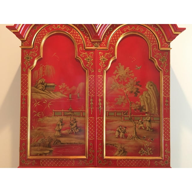 Lacquer 1970s Chinoiserie Red Lacquer Secretary Cabinet For Sale - Image 7 of 8