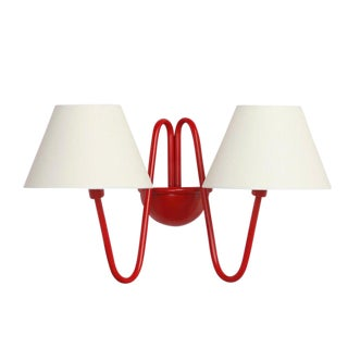 Two-Arm 'Bouquet' Red Wall Lamp in the Style of Jean Royère For Sale
