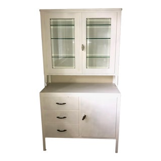 Vintage White Steel and Glass Medical Display Cabinet For Sale
