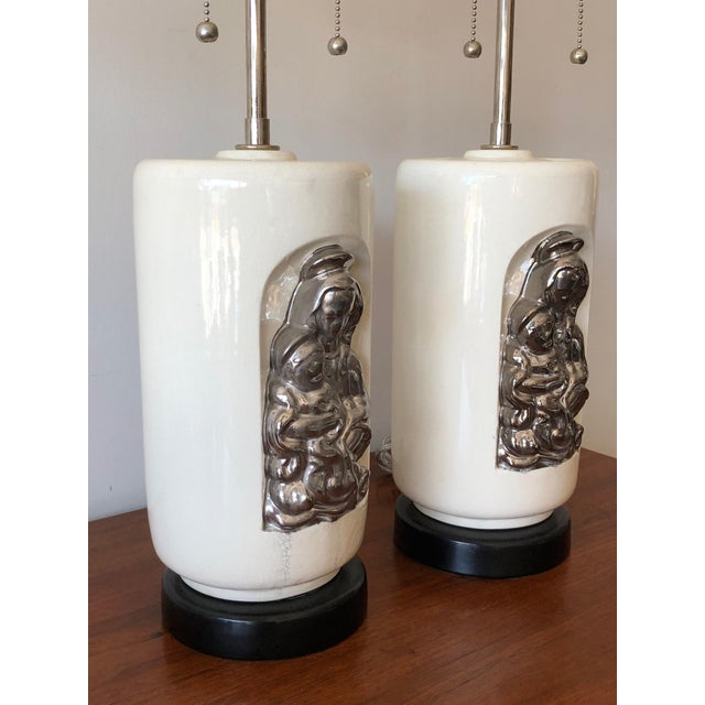 """Modern 1950s Vintage Waylande Gregory """"Madonna and Child"""" Ceramic Lamps - A Pair For Sale - Image 3 of 9"""