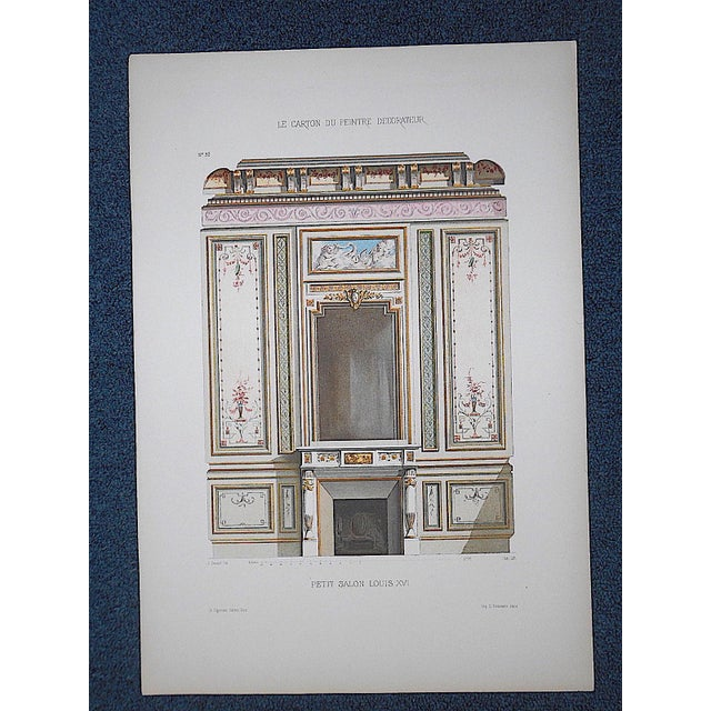 French Antique Color Lithograph-French Interior Design Motifs c.1880-Folio Size For Sale - Image 3 of 4