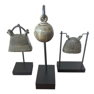 Antique Thai Brass Bells on Custom Stands - Set of 3 For Sale