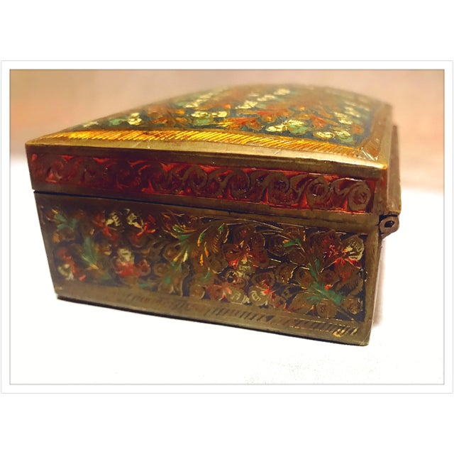 Brass Antique French Enamel Champleve Box For Sale - Image 7 of 11