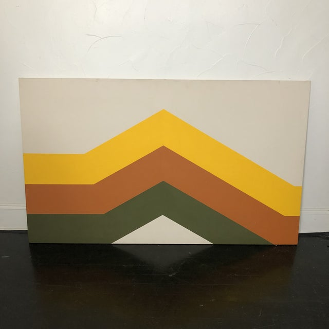 Mustard 1970s Tri Stripe Original Paintings by Artifax - A Pair For Sale - Image 8 of 12
