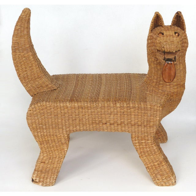 1970s Mexican Mario Lopez Torres Woven Reed & Copper Coyote Bench For Sale - Image 12 of 12