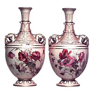 English Victorian Royal Worcester Porcelain Vases For Sale
