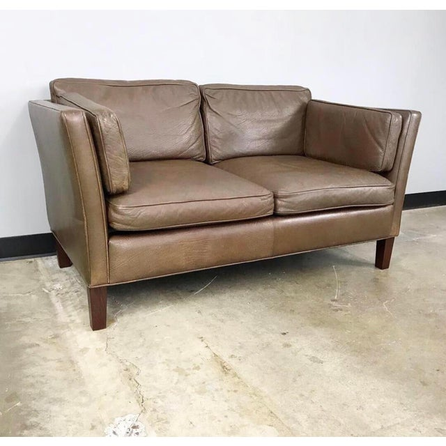 Danish Modern Leather Loveseat in the Style of Børge Mogensen For Sale - Image 11 of 12