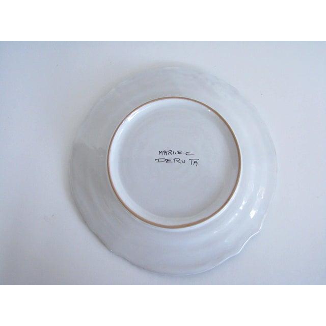 Blue Vintage Mari Deruta Italian Majolica Green Rooster Orvieto Pottery Plates - Set of 6 For Sale - Image 8 of 10