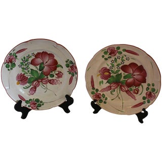 Lobed Faience Plates - a Pair For Sale