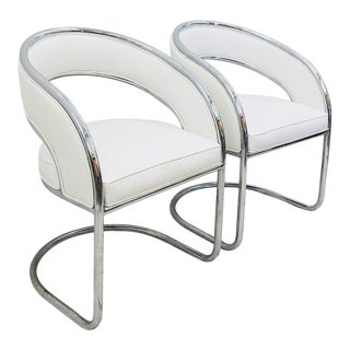 Pair Mid Century Modern Chrome Chairs