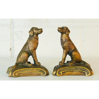 Vintage 1960s Gold Wood Sitting Dog Bookends, Pair Preview