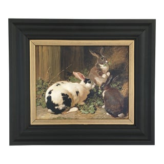 Framed rabbit painting