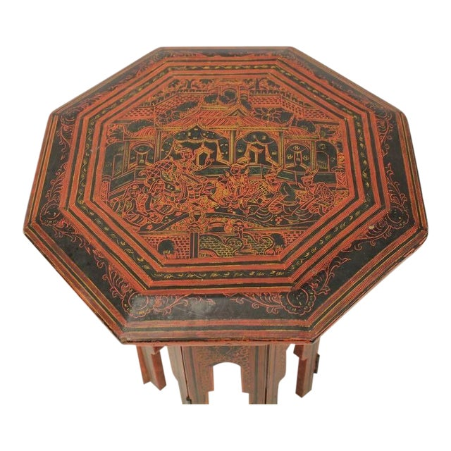 Early 20th C. Antique Burmese Red & Black Lacquered Octagonal Accent Table For Sale