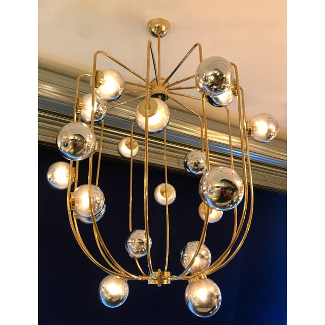 Contemporary Chandelier Brass Cage. Italy For Sale - Image 6 of 11
