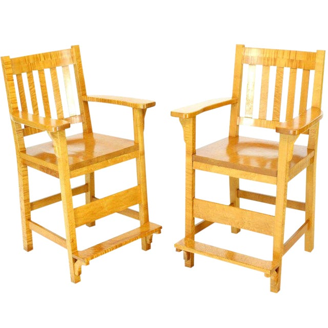 Solid Brid's-Eye Maple High Pool Chairs Bar Stools For Sale