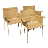 Image of Van Keppel and Green Wicker and Wrought Iron Chairs - Set of 3 For Sale