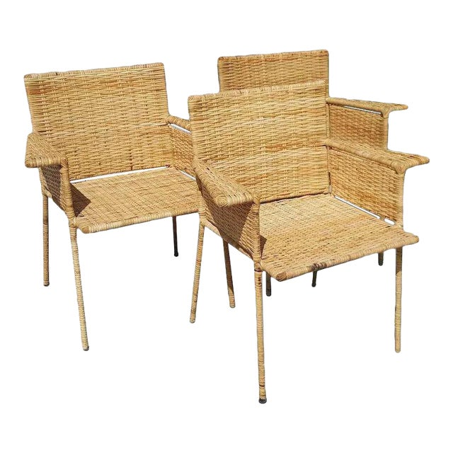 Van Keppel and Green Wicker and Wrought Iron Chairs - Set of 3 For Sale