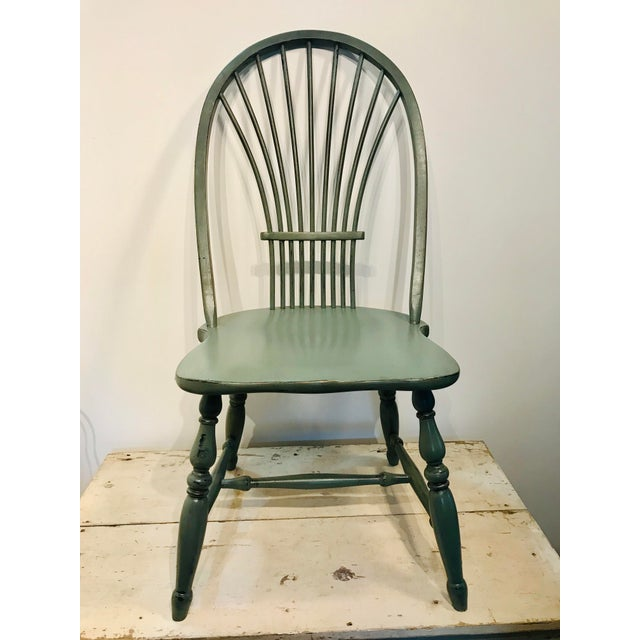 Wood 1970s Vintage Celedon Painted Windsor Chair For Sale - Image 7 of 7