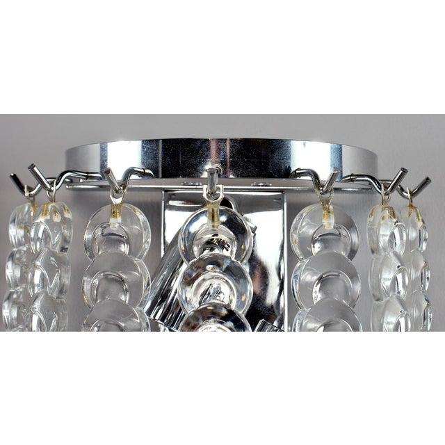 Murano Pair of Murano Glass Sconces With Clear Chain Link Glass Disks For Sale - Image 4 of 11