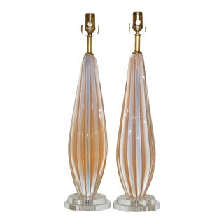 Vintage Murano Opaline Glass Table Lamps Peach For Sale