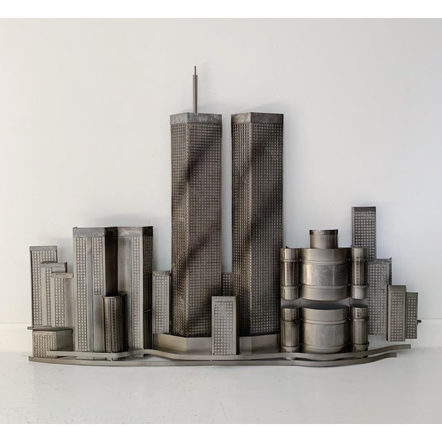 Metal Curtis Jere World Trade Center Twin Towers Metal Wall Sculpture For Sale - Image 7 of 7