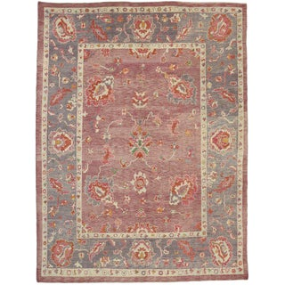 Contemporary Turkish Oushak Rug with Modern Cosmopolitan Style For Sale