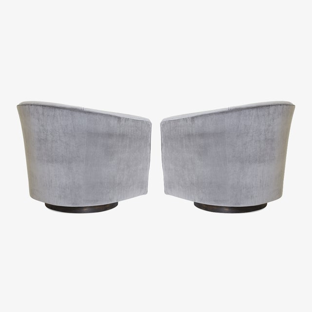 Swivel Tub Chairs in Fog Velvet With Walnut Bases, Pair For Sale - Image 4 of 7